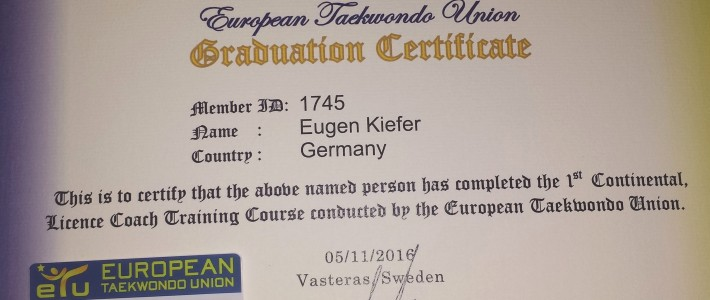 Eugen Kiefer erwirbt Europäische Coach-Lizenz für Weltturniere mit G-Status