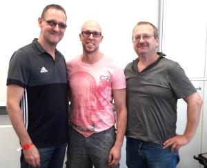 Eugen Kiefer mit Bundesprüfungsreferent Wilfried Pixner und DTU-Vizepräsident Breitensport Randolf Baldauf